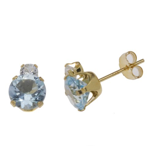 9ct Yellow Gold Blue Topaz & White Cubic Zirconia Stud Earrings