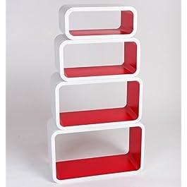 Estanterias Flotantes Diseño Moderno Cubos Para Pared con Forma de Cubo CD Retro Librero Blanco y Rojo LO01BR