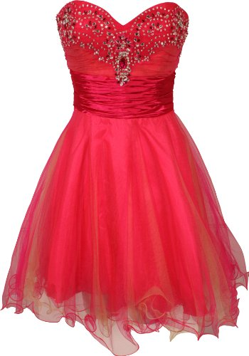 Strapless Layered Mesh Mini Dress with Beaded Sweetheart Neckline Junior