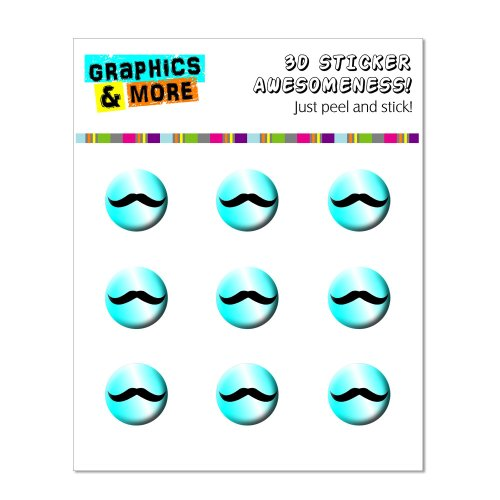 Graphics and More Mustache Funny Blue Home Button Stickers Fits Apple iPhone 4/4S/5/5C/5S, iPad, iPod Touch - Non-Retail Packaging - Clear