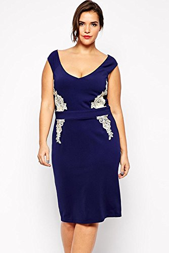 Navy Blue Plus Size Lace Applique Pencil Dress Fashion Style Sexy Dress For Women Vestidos New 2015 Good Quality