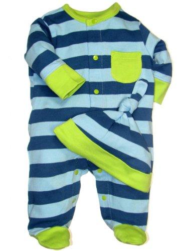 Offspring - Baby Boys Newborn Footie And Hat, Blue Stripe, Newborn front-259357
