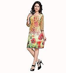 The Ethnic Chic Women's Yellow Color Cotton Kurti.