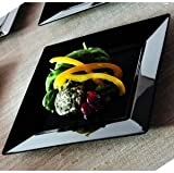 EMI Yoshi Koyal Square Salad Plates, 8-Inch, Black, Set of 10