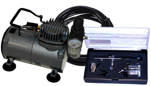 Multi-Purpose Siphon Feed DUAL-ACTION AIRBRUSH with AIR BRUSH COMPRESSOR KIT with Air Hose