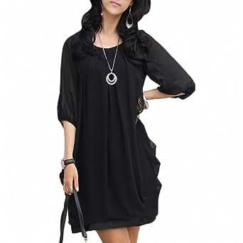 DJT Fashion Mini Robe PlissšŠe Chiffon Tunique en Mousseline de soie Manches 3/4 Robes des Femmes Noir 2XS