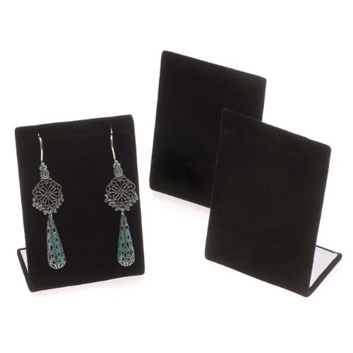 Black Velvet Leaning Earring Stands / Jewelry Displays 3.5 Inches Tall (3) (Earring Stand Jewelry Display compare prices)