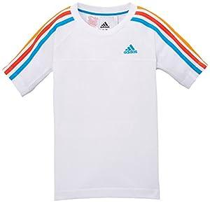 adidas Essentials Crew T-Shirt Garçon Blanc (Blanc/Solblu/Hirere/Bahora) FR : 11-12 ans (Taille Fabricant : 152)