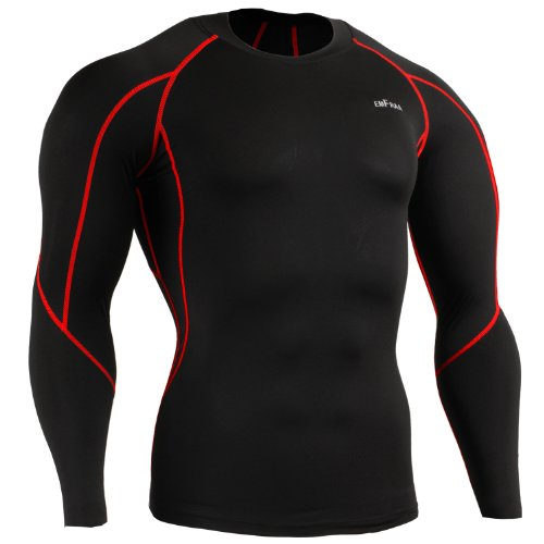 Emfraa Skin Tight Compression Base Layer Black Running Shirt Men Women Xs ~ 2XL
