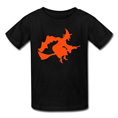 LFD Kids Witch Broom Moon Cotton T Shirts Black