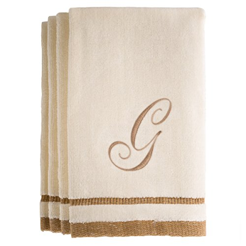 Monogrammed Gifts, Fingertip Towels, 11 x 18 Inches - Set of 4- Decorative Golden Brown Embroidered Towel - Extra Absorbent 100% Cotton- Personalized Gift- For Bathroom/ Kitchen- Initial G (Ivory)