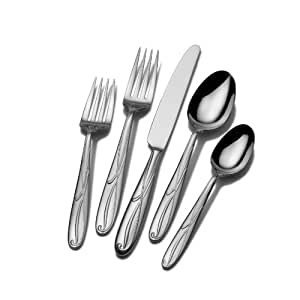 Mikasa Cocoa Blossom 65-Piece Stainless Steel Flatware Set, Servicce for 12
