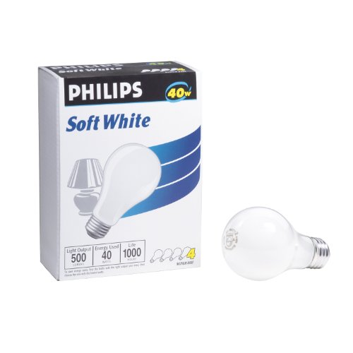 Philips 374827 Soft White 40-Watt A19 Light Bulb, 4-Pack