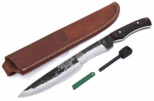 "CFK Cutlery Company IPAK Survival USA Custom Handmade Hammered D2 Tool Steel EXOTIC BLACK PALM WOOD 16"" BUSHCRAFT-CHOPPER Machete Bowie"