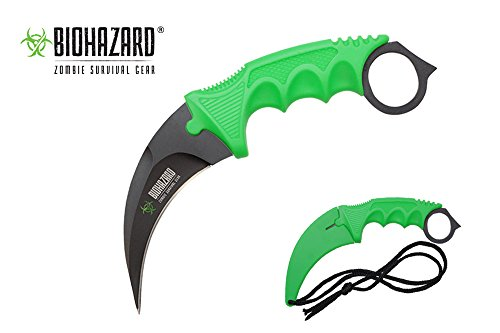 Swordmaster - Biohazard Survival Necklace Knife With Sheath Green Handle