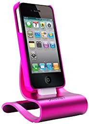 KONNET iCrado Plus - Metal / Metallic Charging / Charger Dock / Cradle / Stand / Kit with Charge and Sync Cable for iPhone 4S, 4, 3Gs, 3G and iPod Touch, Nano (Magenta / Shiny Pink) - Special Promo
