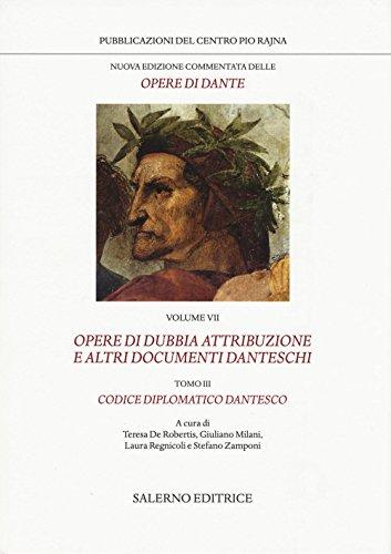 Nuova edizione commentata delle opere di Dante: 7\3