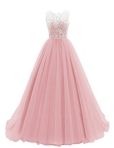 Dresstells® Women's Long Tulle Prom Dress Dance Gown with Lace Blush Size14