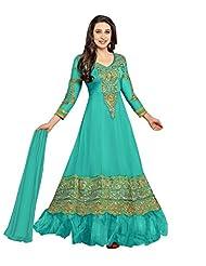 Clickedia Beautiful Aqua Blue Anarkali Semi-sticthed Anarkali Suit-36000