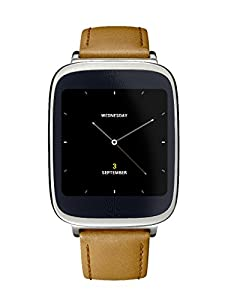 ASUS ZENWATCH 1.6 AMOLED 512MB 4GB QUALCOMM TOUCH SCREEN ANDROID WEAR (Silver/ Leather Brown) - International Version No Warranty