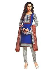 Namaskaar India Classy Blue & Red Printed Salwar Suit Dupatta Material For Women