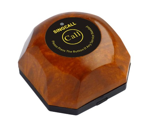 Singcall.One Button Pager, Wireless Calling System,Brown Single Call Button,Guest Call Waiter System(Ape560)