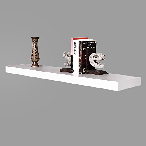 WELLAND 48-Inch Mission Floating Wall Shelf, Off White