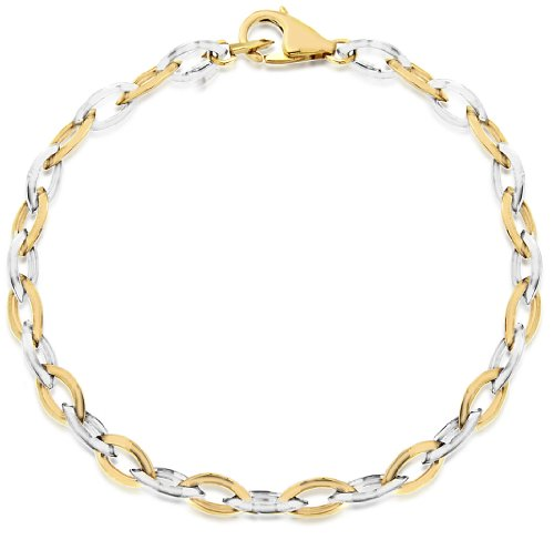 9ct Two Colour Gold Elliptic Link Bracelet 18cm/7