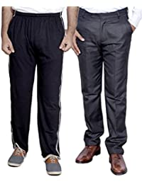 Indistar Mens Formal Trousers With Men's Premium Cotton Lower (Length Size -40) With 1 Zipper Pocket And 1 Open... - B01GEINV48