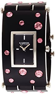 K&BROS Women's 9530-2 Ice-Time Galassia Pink Crystal Accented Black Watch