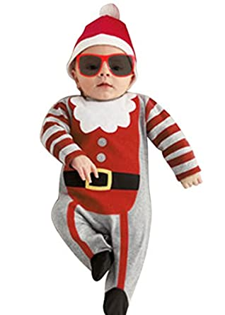 Asoidchi Baby Santa Hat With Jumpsuit Romper