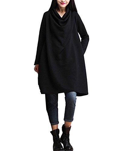 ZANZEA-Femme-Coton-Amples-Col-Bnitier-Temprament-Elegant-Manches-Longues-Robe-Longue-Maxi