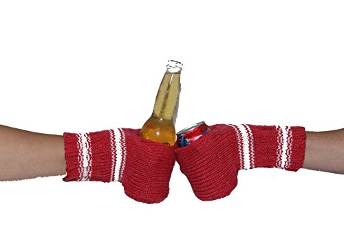 Suzy Kuzy Beer Glove - Knit Beer Mitt (Twin Pack) Cold Drink & Beer Cozy Glove: Dark Pink/White