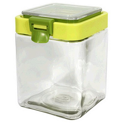 Canister jar clear glass square spring lid for Clear bathroom containers