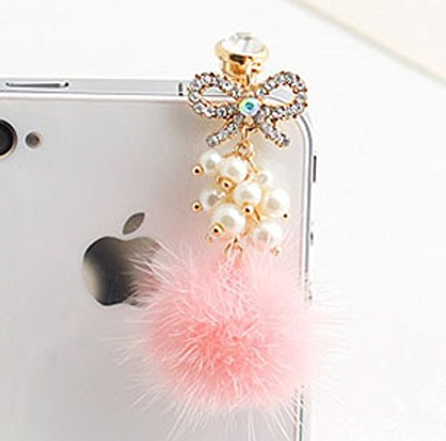 Tiny Chou Pretty Pink Fuzzy Ball & Beads Girly Pendant Tassel 3.5 mm Cell Phone Charm Anti Dust Plug Earphone Cap Headphone Jack Accessory for iphone 6 Plus,iPhone 6,ipods,ipads,Samsung Galaxy series (Crown Headphone Jack Charm compare prices)