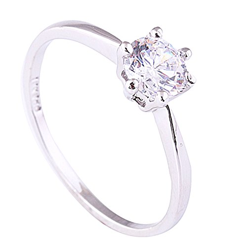 Acefeel 18K White Gold Inlaid Zircon Six-claw Ring Promise Wedding Engagement Ring