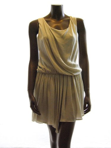 Alice + Olivia womens felipa draped stone gathered silk dress XS
