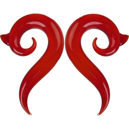 Pair of Glass Borneo Spirals: 000g Ruby