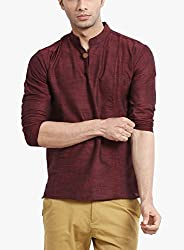 Veda Men Pintucked Short Kurta - MAROON