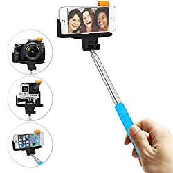 Evies Stainless Steel Selfie Stick with Built in Rechargeable Bluetooth Shutter Button for GoPro Camera, iPhone 4, 4s, 5, 5s, 6, 6 Plus, iPods, Samsung Galaxy S3, S4, S5, S6, Note 2, 3, 4 - Blue