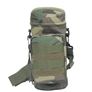 Outdoor Tactical H2O Pouch Military Tactical Water Bag, MOLLE Compatible (Woodland)