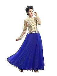 Parinaaz fashion Blue soft net fabric Unsticht Dressmaterial
