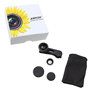 AGPtek® Detachable 3 in 1 Lens 180° Fisheye Lens + Wide Angle Lens + Macro Lens With Case For iPhone 5