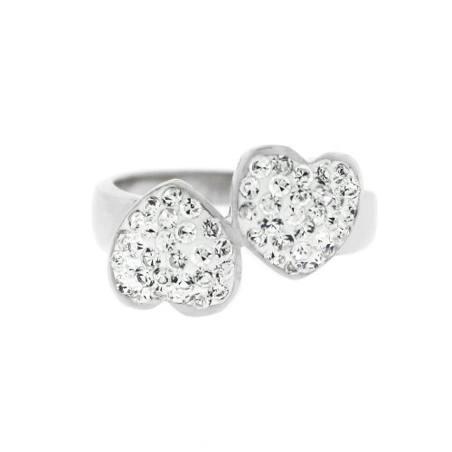 Ladies Stainless Steel Silver Tone White Crystal Hearts Ring