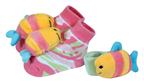 Stephan Baby Go Fish Wrist Rattle and Rattle Socks Gift Set, Pink Fish