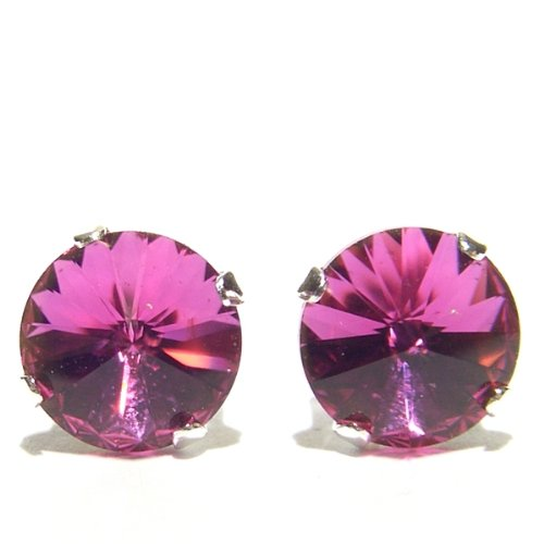 925 Sterling Silver Stud Earrings set with Vintage Fuchsia Rivoli Swarovski Crystal Stones. Gift Box. Beautiful jewellery for very special people.