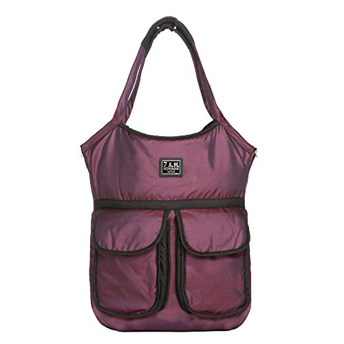 7AM Enfant Barcelona Diaper Bag, Metallic Plum