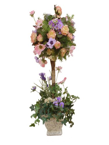 Spring Floral Topiary (with silk flowers)