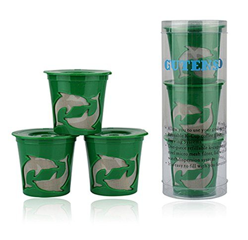 Gutens Reusable K-Cups 3 Count for Keurig K-Cup Brewer K75, K45, B60, B70, B130, K40, B40, K60, B145, B150, B140, K150, K70, B30, K145, K155, B155, B44, B200, B3000, replaces Ecobrew, Solofil, and Kuerig My refillable K cup (Green) (Reusable K Cup For Mr Coffee Kg5 compare prices)