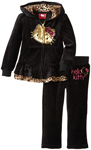 Hello Kitty Little Girls' Leopard Trim Velour Set, Anthracite, 6 front-754116